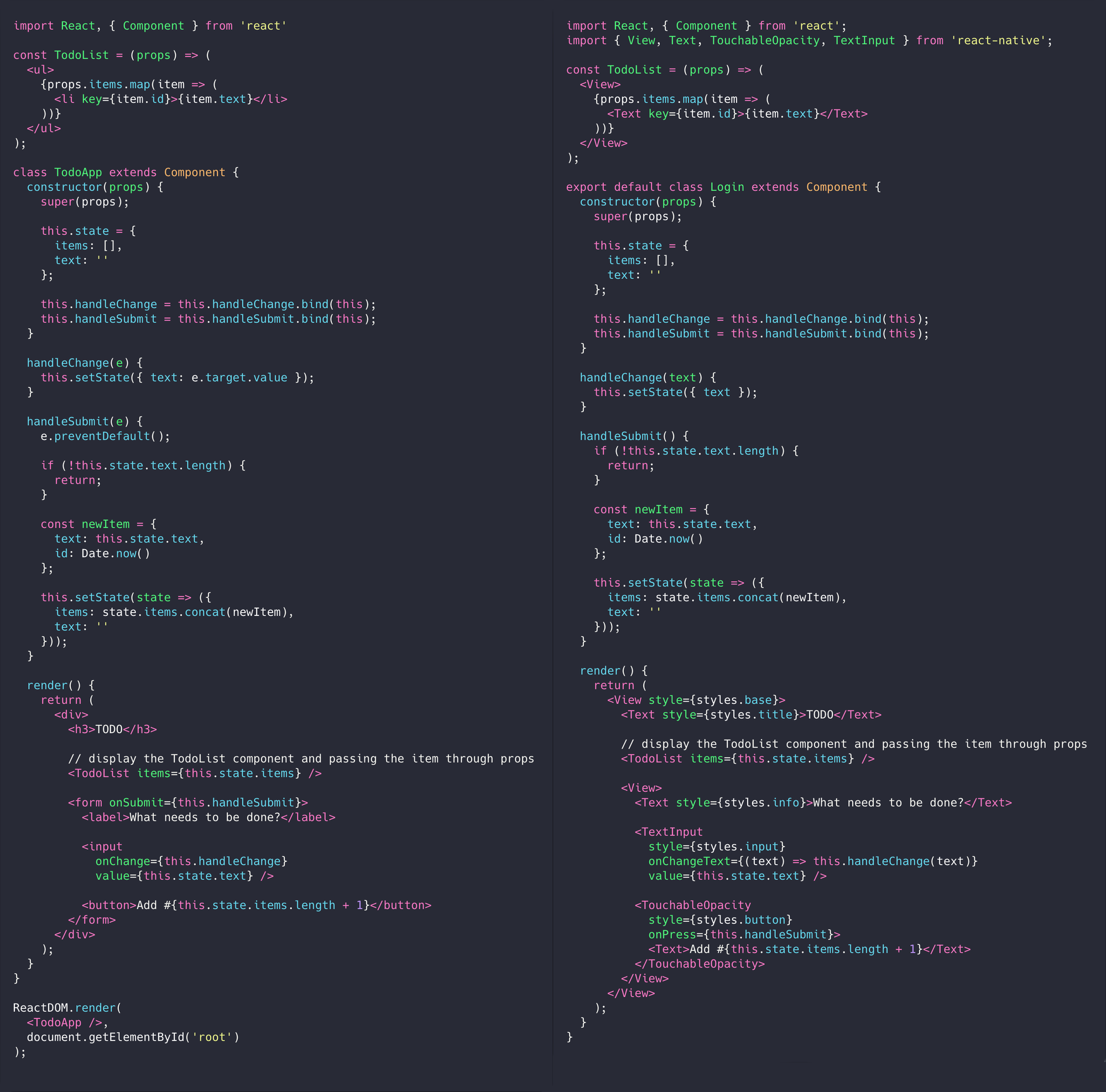 react vs react native example