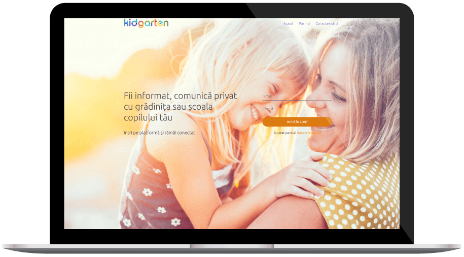 homepage view of kidgarten the social network for kindergartens
